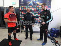 European Rugby Champions Cup Round 4, Kingspan Stadium, Belfast 15/12/2017. Ulster vs Harlequins. Harlequins\' captain Dave Ward, referee Alexandre Ruiz and Ulster captain Iain Henderson at the coin toss. Mandatory Credit ©INPHO/Tommy Dickson