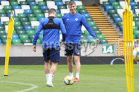 Press Eye - Belfast - Northern Ireland - 8th  September 2019. Northern Ireland train at the National Stadium ahead of their UEFA Euro Qualifier against Germany.. Picture by Declan Roughan/PressEye. (Right) Paddy Mc Nair