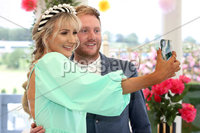 Press Eye - Belfast - Northern Ireland - 11th August 2019 - (L-R) Ivon and Gary Moore pictured at the Downpatrick Racecourse Style Sunday race meeting. . Photograph by Declan Roughan / Press Eye