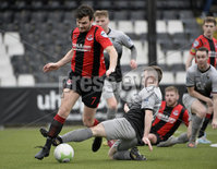 07/12/2019. Danske Bank Premiership, Seaview, Belfast Co. Antrim . Crusaders v Institute. Crusaders Philip Lowry  in action with Institutes Aiden McAuley . Mandatory Credit INPHO/Stephen Hamilton.