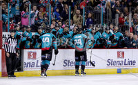 Press Eye - Belfast -  Northern Ireland - 06th April 2019 - Photo by William Cherry/Presseye. Belfast Giants\' Jonathan Ferland celebrates scoring against Coventry Blaze during Saturday evenings PredictorBet Playoff Quarter Final 1st Leg game at the SSE Arena, Belfast. Photo by William Cherry/Presseye