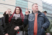Press Eye - Belfast - Northern Ireland - 10th January 2018. Britain First leader Paul Golding leaves Belfast Magistrates Court, along with the deputy leader Jayda Fransen, where he was appearing after being charged with making a hate speech at Belfast City Hall last summer.  See copy by Alan Erwin/Laganside  Media. . Picture by Jonathan Porter/PressEye