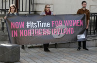 Press Eye - High Court Belfast - 5th October 2018. Photograph By Declan Roughan. Sarah Ewart and Grainne Teggart, Northern Ireland campaigner for Amnesty International arrive at the High Court in Belfast to challenge court rulings regarding Abortion Law in Northern Ireland.