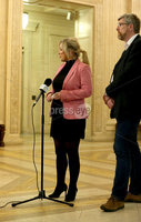 Press Eye - Northern Ireland - 19th April 2017 - Photographer - © Matt Mackey / Presseye.com. Leader of Sinn Féin in Northern Ireland, Michelle O\'Neill updates the assembled media in The Great Hall, Parliament Buildings, Stormont along with party colleague John O\'Dowd. Mrs O\'Neill took questions on Theresa May\'s call for a General Election in the midst of the Stormont crisis talks..  .
