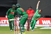 Mandatory Credit: Rowland White / PressEye. Cricket: Walton Tri-Series International. Teams: Ireland (light green) v Bangladesh (dark green). Venue: Malahide. Date: 19th May 2017. Caption: Tim Murtagh bowling to Soumya Sarkar of Bangladesh