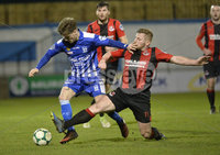 Danske Bank Premiership, The Showgrounds Newry 11/01/2019. Newry vs Crusaders. Newrys Stefan Lavery  with Crusaders David Cushley . Mandatory Credit INPHO/Stephen Hamilton.