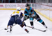 Press Eye - Belfast -  Northern Ireland - 03rd February 2019 - Photo by William Cherry/Presseye. Belfast Giants\' Chris Higgins with Guildford Flames\' Jesse Craige during Friday nights Elite Ice Hockey League game at the SSE Arena, Belfast.   Photo by William Cherry/Presseye