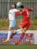 9th May 2018. Europa league play off semi final match between Cliftonville and Ballymena United at Solitude in Belfast.. Cliftonvilles Jamie Harney  in action with Ballymena\'s Fra McCaffrey. Mandatory Credit ©Inpho/Stephen Hamilton