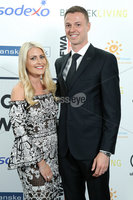 Press Eye - Belfast - Northern Ireland - 7th May 2018  - . NI Football Awards at the Crowne Plaza Hotel.. Jonny Evans with his wife Helen pictured at the Awards.. Photo by Kelvin Boyes / Press Eye .