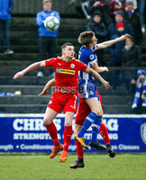 Danske Bank Premiership Play-Off, The Ballymena Showgrounds, Co. Antrim 7/4/2018 . Coleraine vs Cliftonville. Ruri Harkin for Cliftonville and Lyndon Kane for Coleraine. Mandatory Credit ©INPHO/Freddie Parkinson