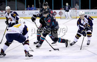 Press Eye - Belfast, Northern Ireland - 04th October 2019 - Photo by William Cherry/Presseye. Belfast Giants\' Brian Ward with Guildford Flames\' Jesse Craige during Friday nights EIHL game at the SSE Arena, Belfast.   Photo by William Cherry/Presseye