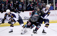 Press Eye - Belfast, Northern Ireland - 04th October 2019 - Photo by William Cherry/Presseye. Belfast Giants\' Bobby Farnham with Guildford Flames\' Cam Braes during Friday nights EIHL game at the SSE Arena, Belfast.   Photo by William Cherry/Presseye