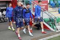 Press Eye - Belfast - Northern Ireland - 8th  September 2019. Northern Ireland train at the National Stadium ahead of their UEFA Euro Qualifier against Germany.. Picture by Declan Roughan/PressEye. (Left) George Saville