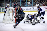 Press Eye - Belfast, Northern Ireland - 04th October 2019 - Photo by William Cherry/Presseye. Belfast Giants\' Patryk Wronka with Guildford Flames\' Travis Fullerton during Friday nights EIHL game at the SSE Arena, Belfast.   Photo by William Cherry/Presseye