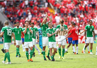 Press Eye - Belfast -  Northern Ireland - 03rd June 2018 - Photo by William Cherry/Presseye. Northern Ireland players after the final whistle of Sunday mornings International Friendly against Costa Rica at the Nuevo Estadio Nacional de Costa Rica in San Jose.   Photo by William Cherry/Presseye
