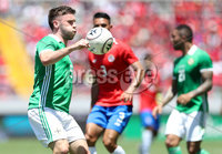 Press Eye - Belfast -  Northern Ireland - 03rd June 2018 - Photo by William Cherry/Presseye. Costa Rica\'s Giancarlo Gonzalez with Northern Ireland\'s Shay McCartan during Sunday mornings International Friendly at the Nuevo Estadio Nacional de Costa Rica in San Jose.   Photo by William Cherry/Presseye