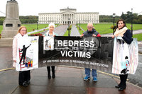 Press Eye - SAVIA NI - Stormont - 3rd October 2019. Photograph by Declan Roughan. SAVIA meeting SoS Julian Smith, Stormont House. Hoping to hear, more clearly his plans for accelerated passage on HIA Legislation...as demanded by many.. (L-R) Seanin Malone, Rathgael, Margaret McGuckin, SAVIA, Ron Graham, Kincora and Claire McKeegan, SAVIA Lobby Group (Phoenix Law)