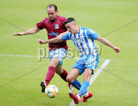 ress Eye - Belfast - Northern Ireland - 27th July 2020 - . Ballymena United FC v Coleraine FC Sadler\'s Peaky Blinder Irish Cup Semi Final at the National Football Stadium at Windsor Park.. Ballymenas Anthony Kane with Coleraines Aaron Traynor. Photo by Jonathan Porter Press Eye.