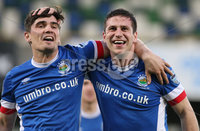 PressEye-Northern Ireland- 18th April 2017-Picture by Brian Little/PressEye. Linfield Mark Haughey celebrates  with Jimmy Callacher scoring against Glenavon   during Easter Tuesday\'s Danske Bank Section A match at Windsor Park.. Picture by Brian Little/PressEye