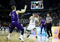Press Eye - Belfast -  Northern Ireland - 01st December 2017 - Photo by William Cherry/Presseye. Manhattan College\'s Patrick Strzala with Holy Cross\'s Connor Niego during Friday afternoons Basketball Hall of Fame Belfast Classic game at the SSE Arena, Belfast.