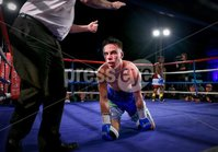 Picture -  Kevin Scott / Presseye. Belfast - Northern Ireland - Saturday 1st August 2015 - Feile Big Fight Night - (No Repro Fee) . Pictured is the fight between Paul Quinn (Blue & Silver Shorts) vs Martin Mubiru (Frayed Shorts) 2 at the Feile big fight night in Belfast, Northern Ireland . . Picture - Kevin Scott / Presseye