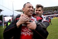 European Rugby Champions Cup Round 5, Kingspan Stadium, Belfast 13/1/2018. Ulster vs La Rochelle. Ulster\'s Christian Lealiifano with Luis Ludik after his last game. Mandatory Credit ©INPHO/Tommy Dickson