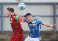 Danske Bank Premiership, Showgrounds, Coleraine , Co. Derry. Northern Ireland 1/5/2021. Coleraine V Cliftonville. Cliftonvilles Ryan Curran and Coleraines Aaron Traynor.. . Mandatory Credit INPHO/Presseye/Lorcan Doherty.