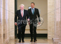 Press Eye - Belfast - Northern Ireland - 13th January 2020. British Prime Minister Boris Johnson visits Stormont in east Belfast after power sharing returned at the weekend to the Northern Ireland Assembly.. Prime Minister Boris Johnson and Irish Taoiseach Leo Varadkar walk together before speaking to the press at Parliament Buildings.. Picture by Jonathan Porter/PressEye