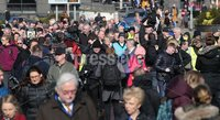 Press Eye Northern Ireland. Thursday 14th March 2019. . Bloody Sunday families leaving the City Hotel following the briefing with the Department of Public Prosecutions.. Family members swamped by the press.. Photo Lorcan Doherty/Presseye