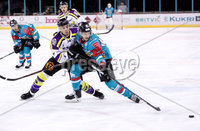 Press Eye - Belfast -  Northern Ireland - 11th February 2018 - Photo by William Cherry/Presseye. Belfast Giants Sebastien Sylvestre with Manchester Storm\'s Luke Moffatt during Sunday afternoons Elite Ice Hockey League game at the SSE Arena, Belfast.
