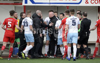 13th April 2019. Danske Bank Irish premiership. Cliftonville v Ballymena United at Solitude Belfast.. tempers flare after Paddy McLoughlin stopped Jim Ervin taking a quick throw in. Mandatory Credit -Inpho/Stephen Hamilton .
