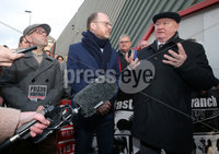 Press Eye - Belfast - Northern Ireland - 30th November 2018. . The Detail journalists Barry McCaffrey(left) and Trevor Birney(centre) pictured entering PSNI Musgrave Street Station where for further questioning after they were recently arrested regarding allegedly stolen information which appeared in the documentary \'No Stone Unturned\'.  The documentary told the story of the murder of six men by the UVF in a pub in Loughinisland, Co. Down. . The NUJ also held a protest outside the station in support of the two journalists. . Picture by Jonathan Porter/PressEye