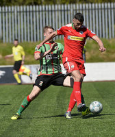 12th May 2018. Europa league play off final between Cliftonville and Glentoran at Solitude in Belfast.. Cliftonville\'s Joe gormley  in action with Glentorans Marcus Kane . Mandatory Credit: Inpho/Stephen Hamilton