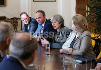Press Eye - Belfast - Northern Ireland - 12th February 2018 - . Northern Ireland Talks at Stormont House, Belfast . Secretary of State for Northern Ireland Karen Bradley and Prime Minister Theresa May pictured meeting Irish Taoiseach Leo Varadkar inside Stormont House.. Photo by Kelvin Boyes / Press Eye..