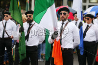 Press Eye - Belfast - Northern Ireland - 5th October 2019. Newry Republican Commemoration Committee parade through the town to Raymond McCreesh park to commemorate the hunger striker.  IRA volunteer Raymond McCreesh died in May 1981 as part of the Republican hunger strikes which seen 10 men die in the Maze prison.  A children\'s playpark in Newry was recently named after him. . A republican colour party leads the parade as it arrives in Raymond McCreesh park. . Picture by Jonathan Porter/PressEye