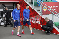 Press Eye - Belfast - Northern Ireland - 8th  September 2019. Northern Ireland train at the National Stadium ahead of their UEFA Euro Qualifier against Germany.. Picture by Declan Roughan/PressEye. (L-R) Liam Boyce and Conor McLaughlin