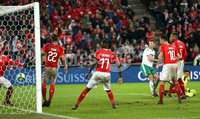Press Eye - Belfast -  Northern Ireland - 12th November 2017 - Photo by William Cherry/Presseye. Northern Ireland\'s Jonny Evans has his header cleared off the line by Switzerland\'s Ricardo Rodriguez during Sunday nights World Cup Play Off 2nd leg game at St. Jakob-Park, Basel.