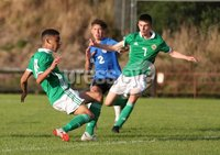 PressEye-Northern Ireland- 19th August  2019-Picture by Brian Little/PressEye. Northern Ireland U16 Brodie Spencer scores against  Estonia U16   during Monday evening\'s challenge match at Breda Park (Knockbreda FC).. Picture by Brian Little/PressEye .