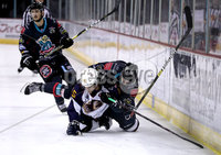 Press Eye - Belfast, Northern Ireland - 04th October 2019 - Photo by William Cherry/Presseye. Belfast Giants\' Liam Reddox with Guildford Flames\' Steve Lee during Friday nights EIHL game at the SSE Arena, Belfast.   Photo by William Cherry/Presseye