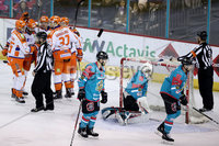 Press Eye - Belfast -  Northern Ireland - 05th January 2018 - Photo by William Cherry/Presseye. Sheffield Steelers celebrate scoring against Belfast Giants during Friday nights Elite Ice Hockey League game at the SSE Arena, Belfast