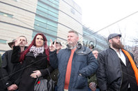 Press Eye - Belfast - Northern Ireland - 10th January 2018. Britain First leader Paul Golding(centre) leaves Belfast Magistrates Court, along with the deputy leader Jayda Fransen(left), where he was appearing after being charged with making a hate speech at Belfast City Hall last summer.  See copy by Alan Erwin/Laganside  Media. . Picture by Jonathan Porter/PressEye