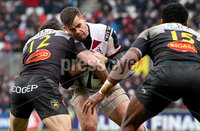 European Rugby Champions Cup Round 5, Kingspan Stadium, Belfast 13/1/2018. Ulster vs La Rochelle. Ulster\'s Louis Ludik with Pierre Aguillon of La Rochelle. Mandatory Credit ©INPHO/Tommy Dickson