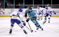 Press Eye - Belfast, Northern Ireland - 06th March 2020 - Photo by William Cherry/Presseye. Belfast Giants\' Mark Garside with Fife Flyers\' Scott Aarssen during Friday nights Elite Ice Hockey League game at the SSE Arena, Belfast.   Photo by William Cherry/Presseye