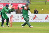 Mandatory Credit: Rowland White / PressEye. Cricket: Walton Tri-Series International. Teams: Ireland (light green) v Bangladesh (dark green). Venue: Malahide. Date: 19th May 2017. Caption: Big stroke by Tamin Iqbal, Bangladesh