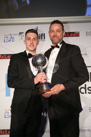 Press Eye - Belfast - Northern Ireland - 7th May 2018  - . NI Football Awards at the Crowne Plaza Hotel.. . DANSKE BANK PLAYER OF THE YEAR. Chris Marshall makes a presentation to Gavin Whyte, Player of the Year . Photo by Kelvin Boyes / Press Eye .