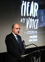 Press Eye - Belfast -  Northern Ireland - 11th April 2018 - Photo by William Cherry/Presseye. The gala premiere of Brendan J. Byrne's new film inspired by Colin Davidson's Silent Testimony exhibition, was held at the QFT Belfast this evening. Pictured speaking at the event is Senator George Mitchell.