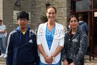 Mandatory Credit - Picture by Freddie Parkinson/Press Eye . Thursday 15 August 2019. Ballyclare High School. A Level Results on the increase once again in Ballyclare High School.. Dr Michelle Rainey Principal (Centre) with Nukul Rajpoot 4A at A level and his sister Deepshikha Rajpoot who gained 4 A at AS Level.