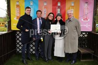 Press Eye - Belfast - Northern Ireland - 1st November 2019 - . Down Royal Racecourse - November Festival Day 1 - Friday . Race 3 - 1:45 WKD HURDLE . Joe and Pat Sloan from WKD make a presentation to Geroid OLoughlin, Kevin Ross and Anna Ross, owners of Coeur.. Photo by Kelvin Boyes / Press Eye.. .