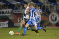 Bet Mclean league cup 3rd round . 8th October 2019. Coleraine  v Glentoran ay Ballycastle road, Coleraine. Coleraines  Lyndon Kane in action with Glentorans Jonathan Frazer. Mandatory Credit INPHO/Stephen Hamilton.