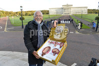Presseye.com. 21/10/2019. Pro Life campaigners  pictured at Stormont ahead of todays ruling that will decriminalise abortion in Northern Ireland.. Indpendant pro life campaigner Clive Joihnston pictured with a life sized illustration of a babys progress before birth.. Mandatory Credit Stephen Hamilton /Presseye